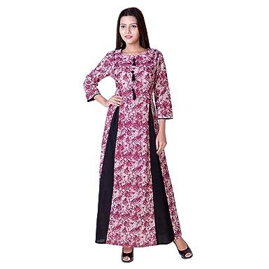 Vedika Overseas Pink Cotton Slub Double Layered Embellished Womens Designer  Kurti f4a173ddf