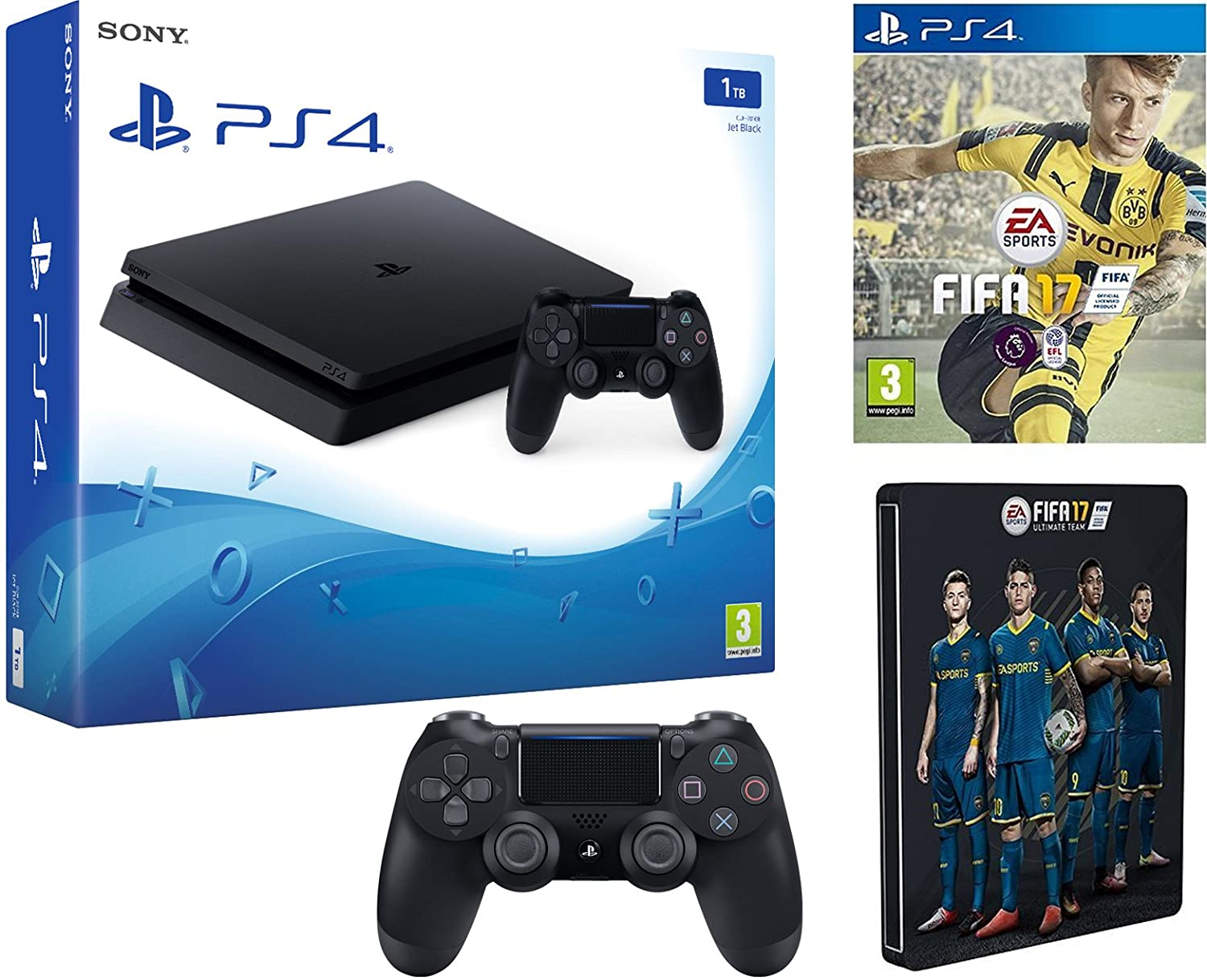 Sony Playstation 4 1tb Fifa 17 Additional New Ds4 Steelbook Ps4 Game Exclusive To Pc Video Games