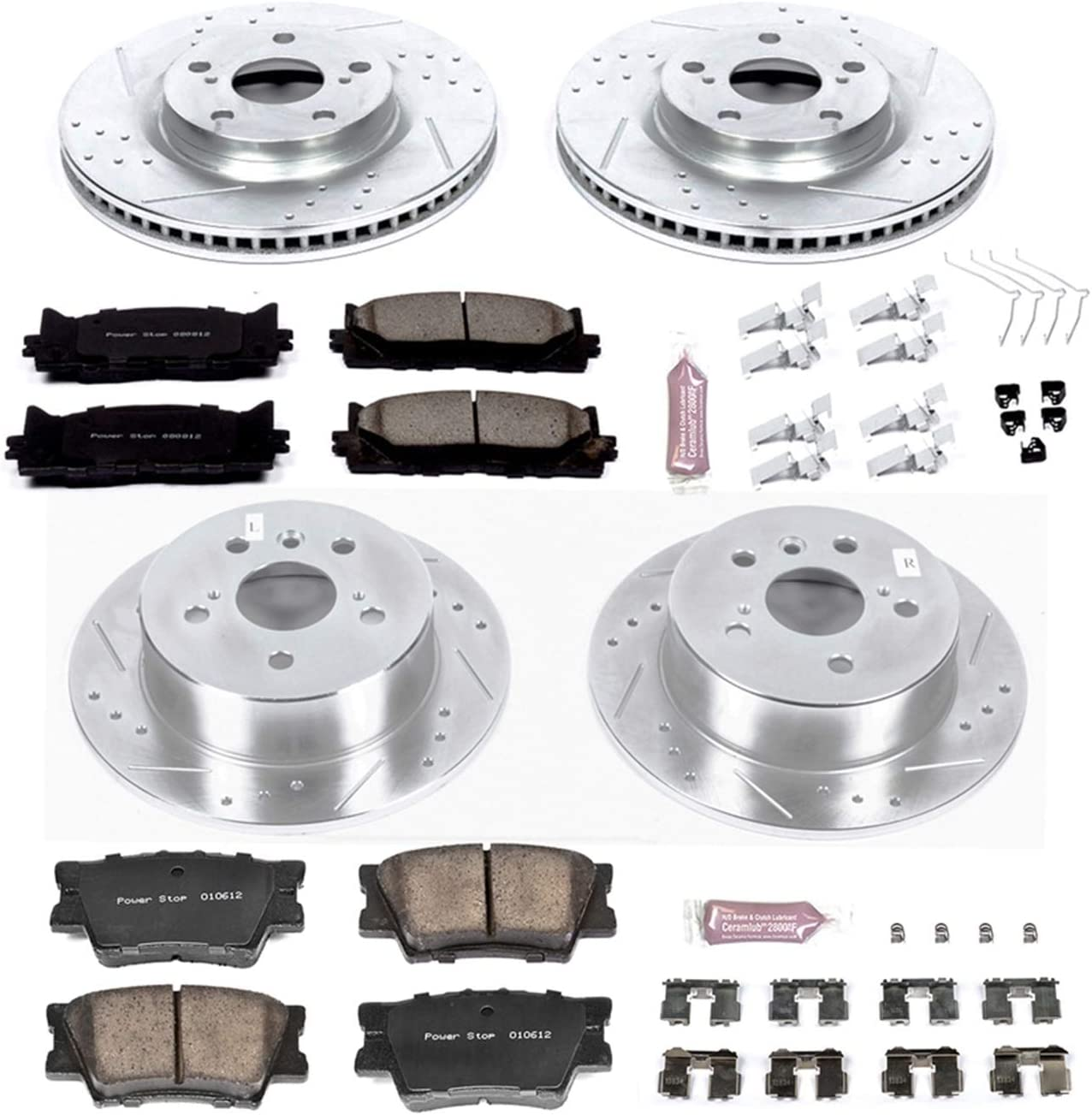 Power Stop K6480 Z23 Evolution Sport 1-Click Performance Front//Rear Brake Kit