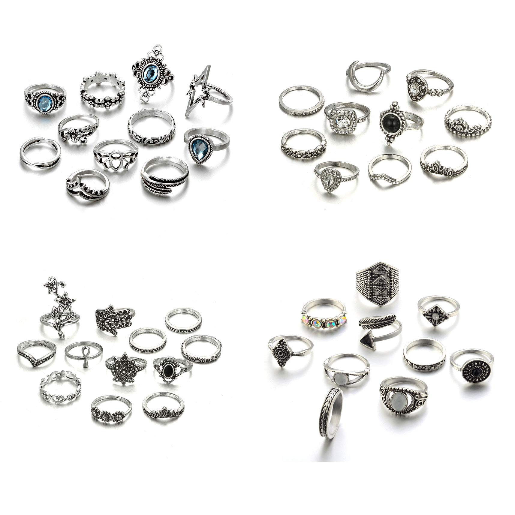 Gudukt 43PCS Vintage Knuckle Rings Set Bohemian Stacking Rings for Women Fashion Midi Finger Ring by Zealmer
