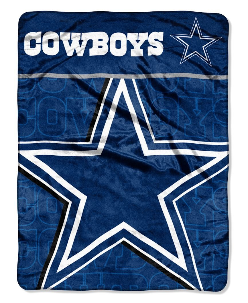 The Northwest Company Officially Licensed NFL Dallas Cowboys Livin Large Micro Raschel Throw Blanket, 46'' x 60'', Multi Color by The Northwest Company