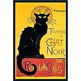 Framed Art Print, Tournee du Chat Noir (Yellow)' by Theophile Alexandre Steinlen: Outer Size 25 x 37