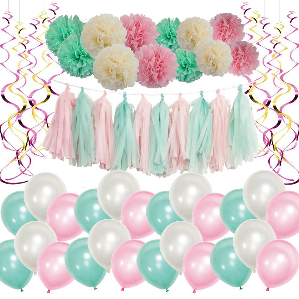 Mainiusi Pink Mint Party Decoration Kit for Girl Baby Shower Party Supplies for Kid Adult First Birthday Bridal Shower Wedding Decor Balloon with Tissue Paper Flower 62PCS