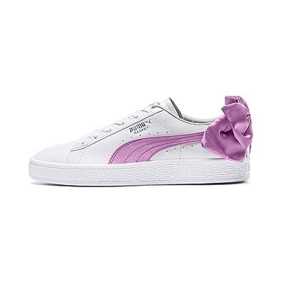 best service b1c47 91d0e PUMA Basket Bow Patent Mädchen Sneaker Puma White-Orchid-Gray 5.5 Youth