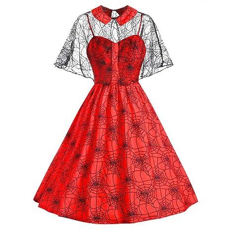 ZLHZYP Disfraz Halloween Vestido con Estampado de telaraña de ...