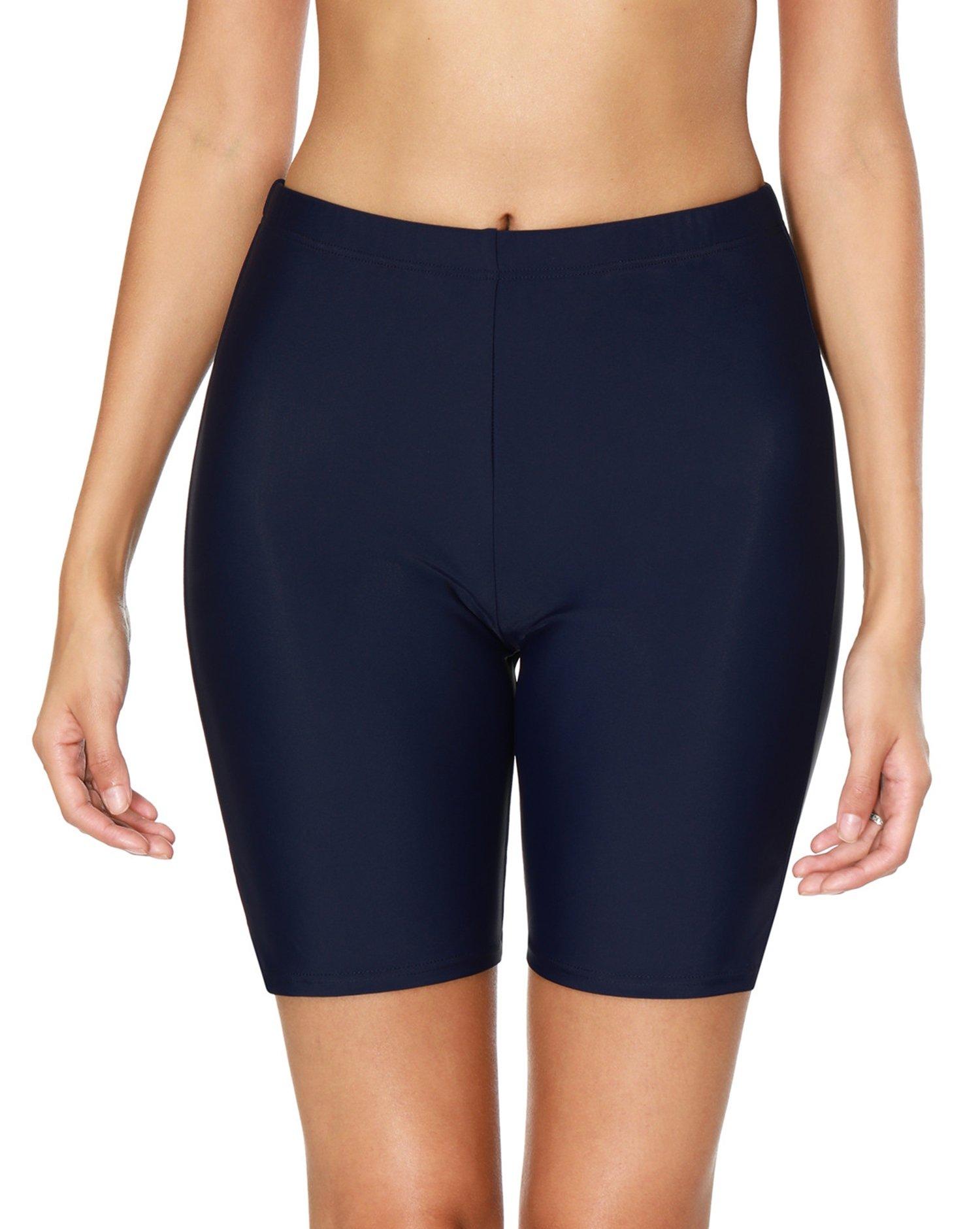 Anwell Women's Tankini Shorts high Waist Long Boyleg Swim Bottom Navy Large