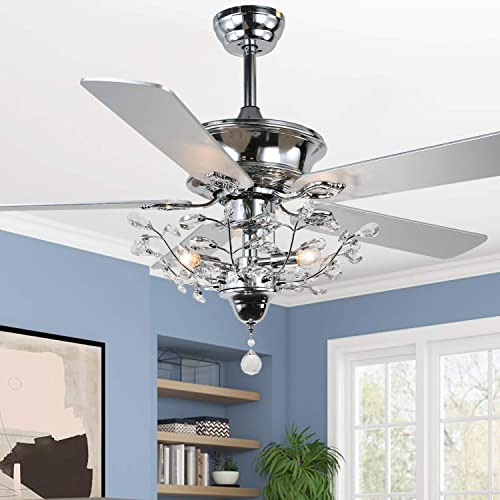 52″ Silver Branches Crystal Ceiling Fan