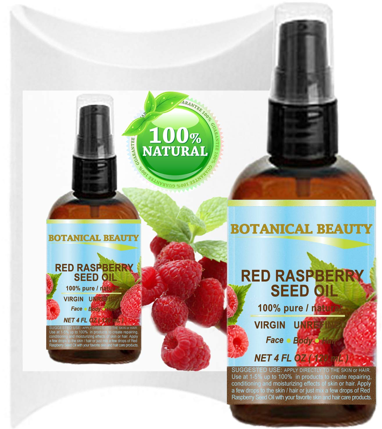 RED RASPBERRY SEED OIL 100% Pure / Natural / Virgin. Cold Pressed / Undiluted Carrier Oil. For Face, Hair and Body. 4 Fl.oz.- 120 ml. by Botanical Beauty