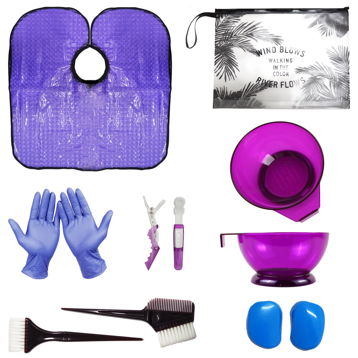 HYOUJIN 11Pcs Hair Dye Coloring DIY Tools Beauty Salon Tool Kit Includes Purple Tint Brushes & Mixing Bowl Pink Hair Clips