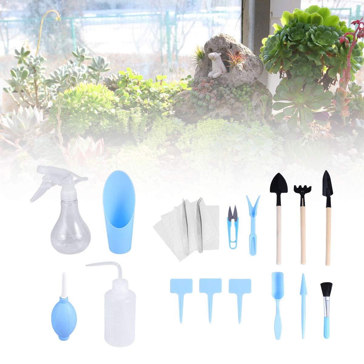 Set for Indoor Fairy Gard STOBOK 16pcs Mini Garden Hand Transplanting Succulent Tools Miniature Planting