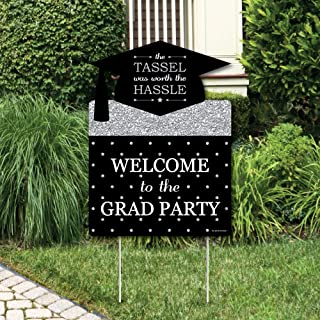 product image for Big Dot of Happiness Silver Tassel Worth The Hassle - Graduation Decorations - Graduation Party Welcome Yard Sign