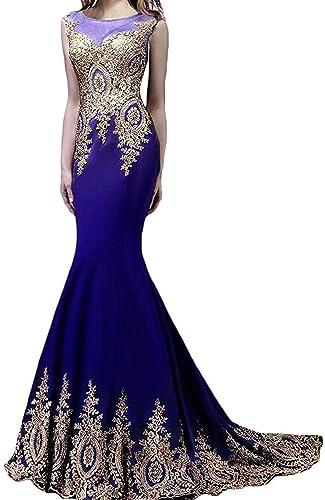 Butmoon Women's Appliques Sleeveless Long Mermaid Evening Dress