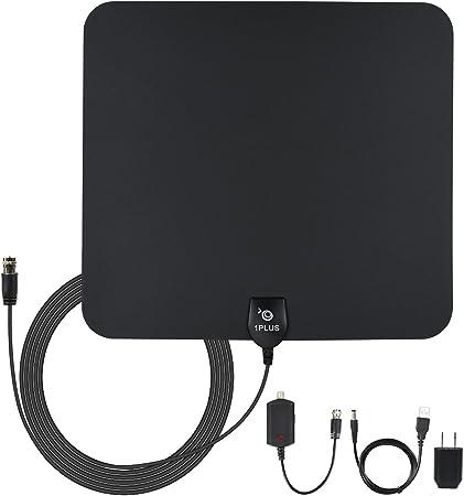 1PLUS 50 millas amplificada HDTV Antena con amplificador de desmontable Power supply-13ft Cable Coaxial