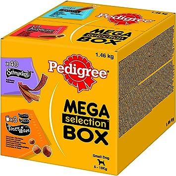 Pedigree Hundesnacks Hundeleckerli Mega Selection Box Mini für kleine Hunde <10kg mit 35 Dentastix, 40 Schmackos-Streifen, 4