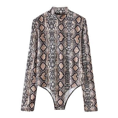 d920e7d17d4742 Crazy-Store Sexy Women Snake Skin Print Turtleneck Long Sleeve Bodysuit  Jumpsuit (S)