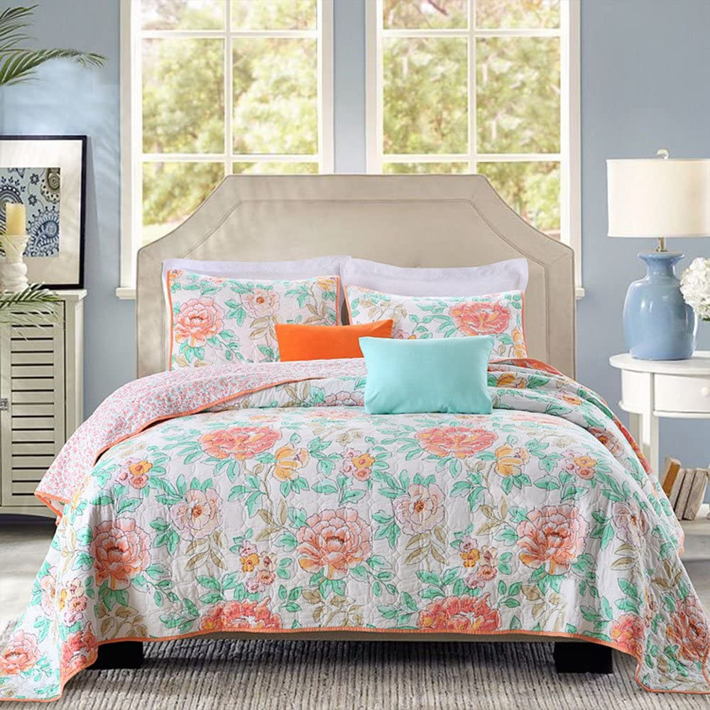 PERYOUN 3-Piece Quilt Set 100% Cotton, Bedspread Set, Finely Stitched, Coverlet Bed-Cover, Washable Durable, Queen Size