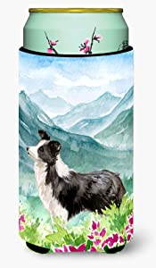 Caroline's Treasures CK1990TBC Mountian Flowers Border Collie Tall Boy Beverage Insulator Hugger, Tall Boy, multicolor