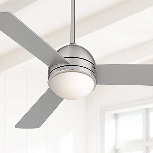 44 Trifecta Modern Ceiling Fan with Light LED Remote Control Brushed Nickel Opal Frosted Glass for Living Room Kitchen Bedroom Dining – Casa Vieja