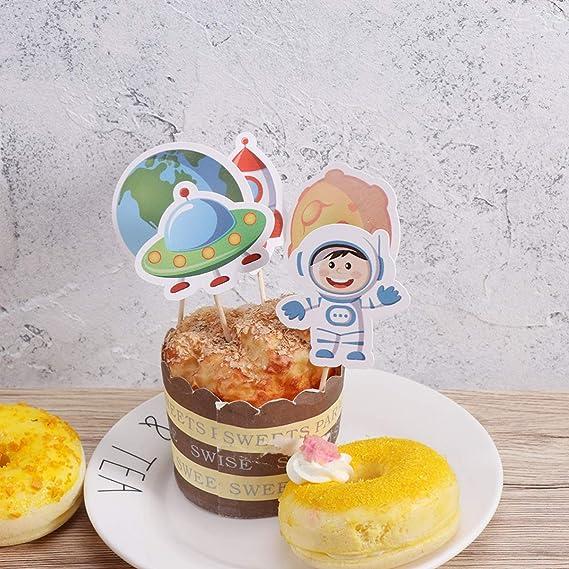 Amosfun - Adornos para tartas con forma de barco espacial ...