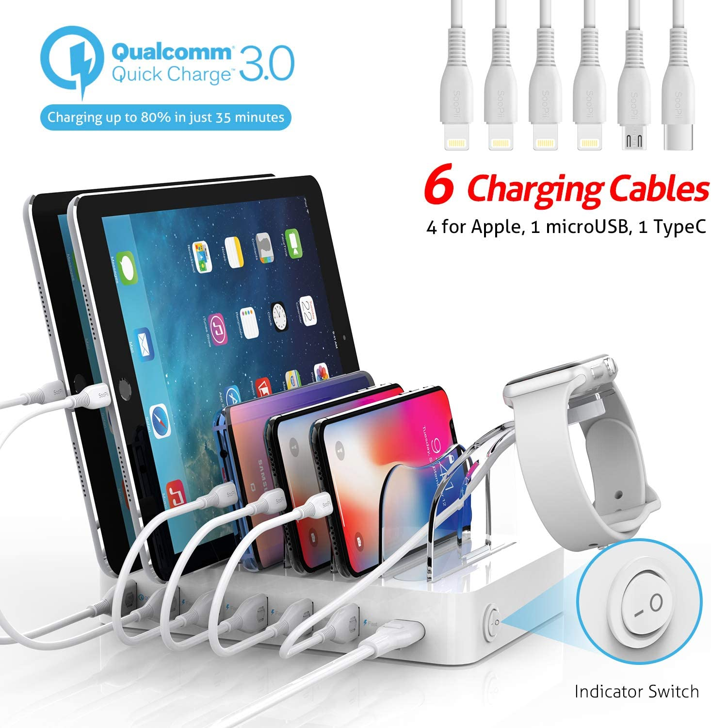 Soopii Quick Charge 3.0 60W/12A 6-Port USB Charging Station Organizer for Multiple Devices, 6 Short Mixed Cables Included, I Watch Holder,for Phones, Tablets, and Other Electronics,White