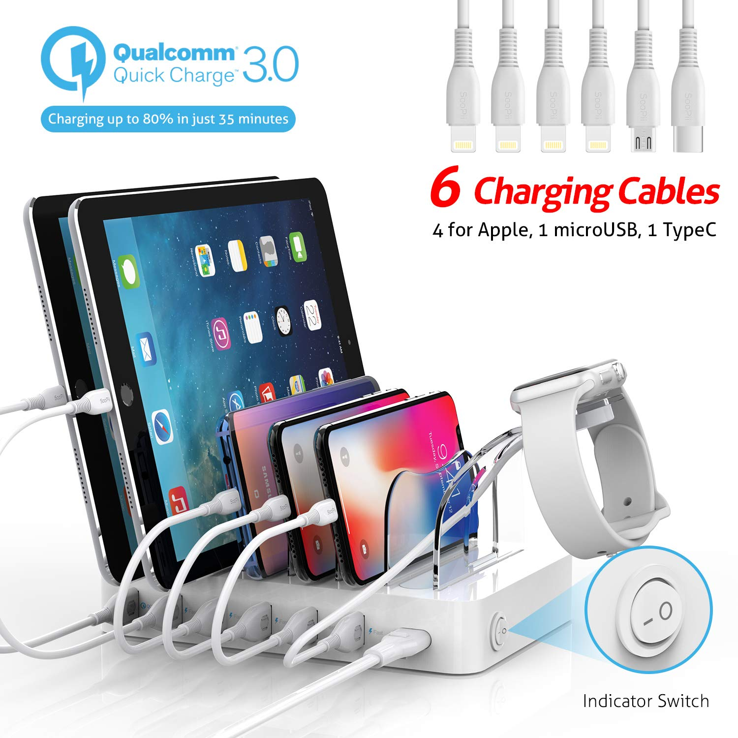 Soopii Quick Charge 3.0 60W/12A 6-Port USB Charging Station Organizer for Multiple Devices, 6 Short Mixed Cables Included, I Watch Holder,for Phones, Tablets, and Other Electronics,White by Soopii