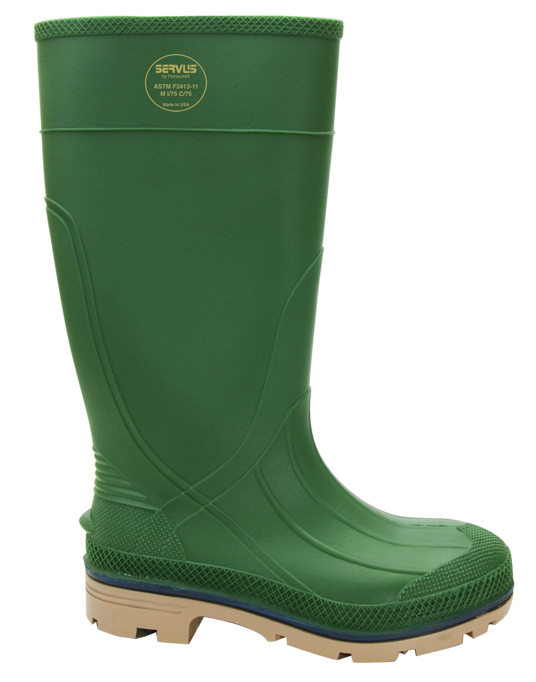 Servus XTP 15'' PVC Chemical-Resistant Steel Toe Men's Work Boots, Forest Green, Blue & Tan (75121) by Honeywell