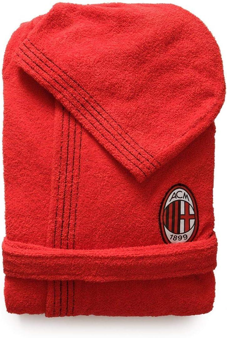 avec capuche pour homme rouge et noir pur coton 100//% /éponge avec bo/îte S 42 // 44 Peignoir officiel AC Milan