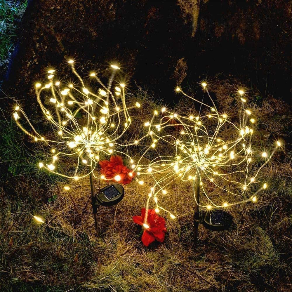 Solar Firework Light, Epicgadget 105 LED Warm Light Outdoor Firework Solar Garden Decorative Lights for Walkway Pathway Backyard Christmas Decoration Parties (Warm White) (2 Pieces)