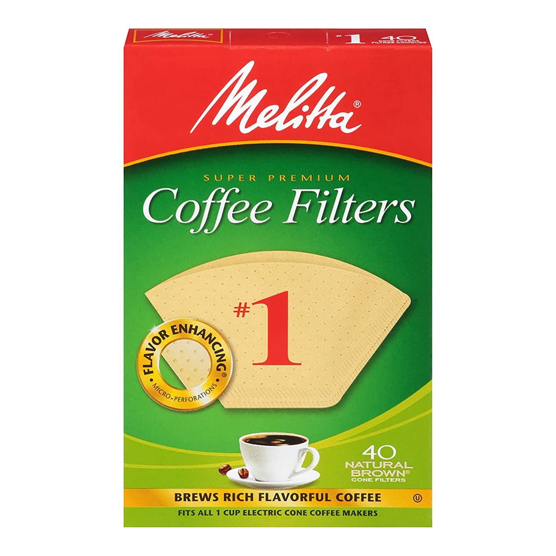 Melitta #1 Super Premium Cone Coffee Filters, Natural Brown, 40 Count (Pack of 12)