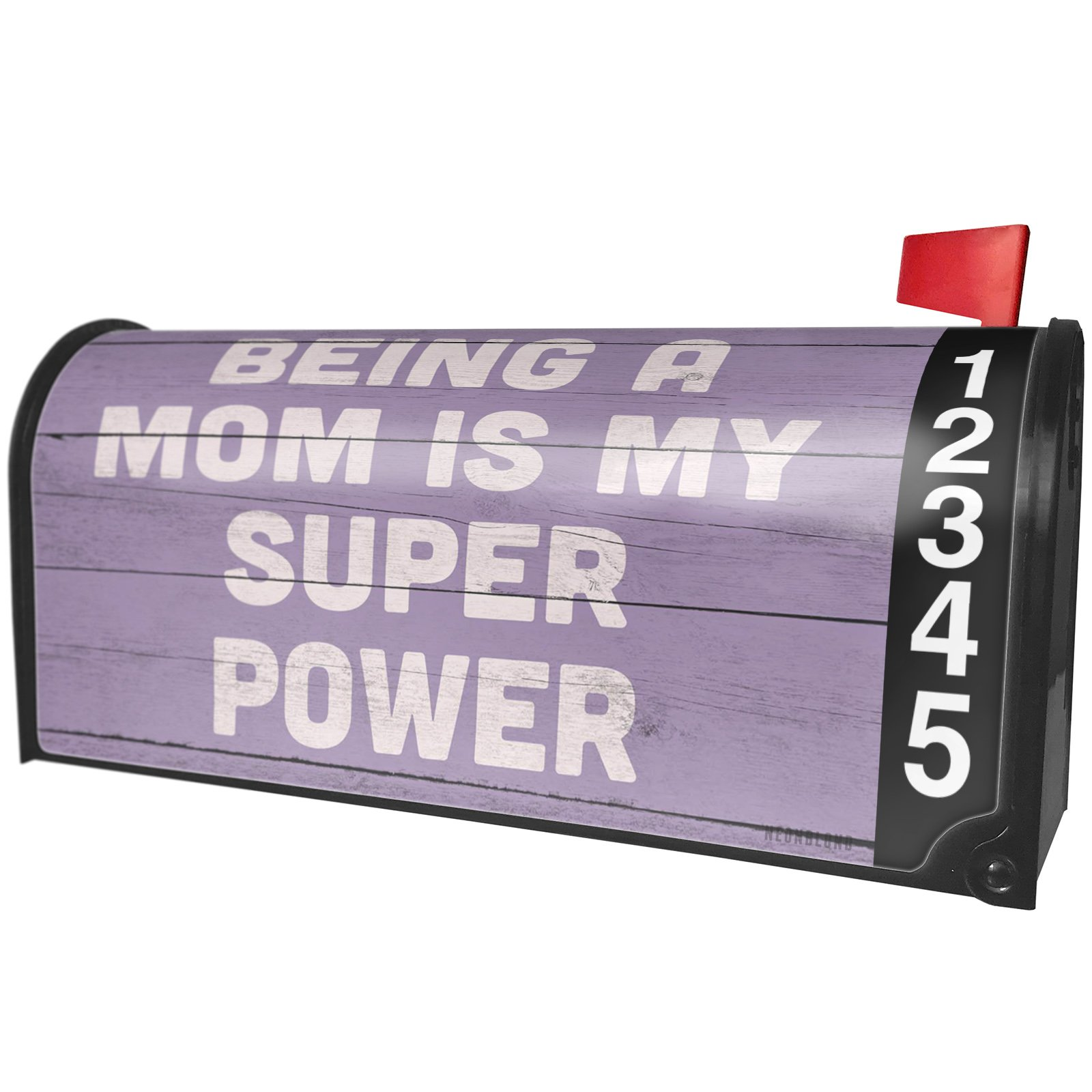 NEONBLOND Being a Mom is My Super Power Mother's Day Purple Vintage Wood Planks Magnetic Mailbox Cover Custom Numbers