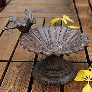 CKH Artesanía de Hierro Fundido Europeo Pájaro Vertical Decoración de Girasol Plato Bandeja de Almacenamiento de Comida para pájaros Personalidad Creativa ...