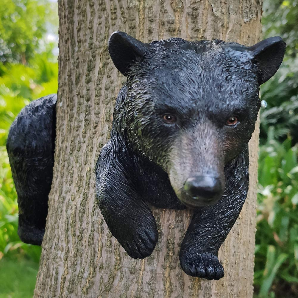 FANN Ferocious Black Bear Trapped in a Tree Statue Tree Hugger Garden Peeker Figurine Yard Art Outdoor Decoration Sculpture