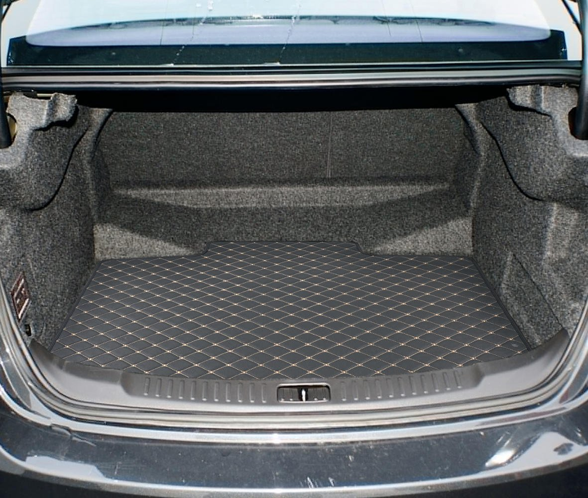 Motor Trend PM201 Black Custom Exact Fit Luxury Padded PU Leather Leatherette Trunk Mat Cargo Liner for Chevrolet Malibu 2013-2015