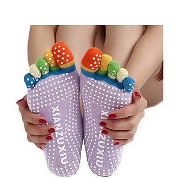 mujeres de 5 de Toe Multicolor de yoga gimnasia No recibo de masaje de dedos de calcetines, mujer, color violeta, tamaño 164/170 cm: Amazon.es: Deportes y ...