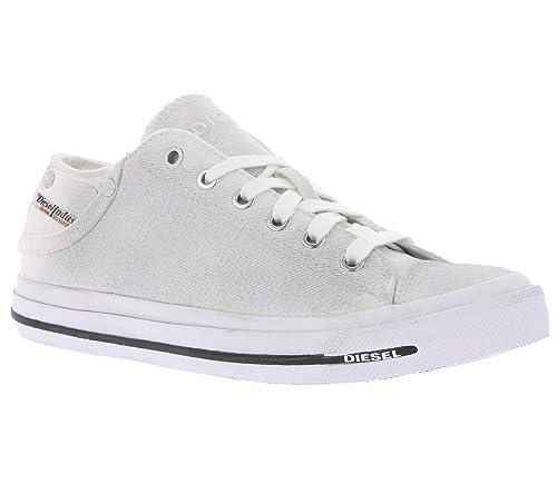 Diesel Sneaker - Zapatillas de Lona para Mujer Plateado Bianco Glitter Plateado Size: 39 EU: Amazon.es: Zapatos y complementos