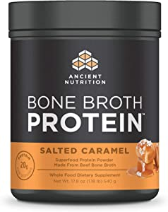 Ancient Nutrition Bone Broth Protein - Salted Caramel, Beef Bone Broth Collagen Peptides Made from Pasture Raised Beef, Supports Joints, Skin and Gut Health, Made Without Gluten & Dairy, 17.8 oz …