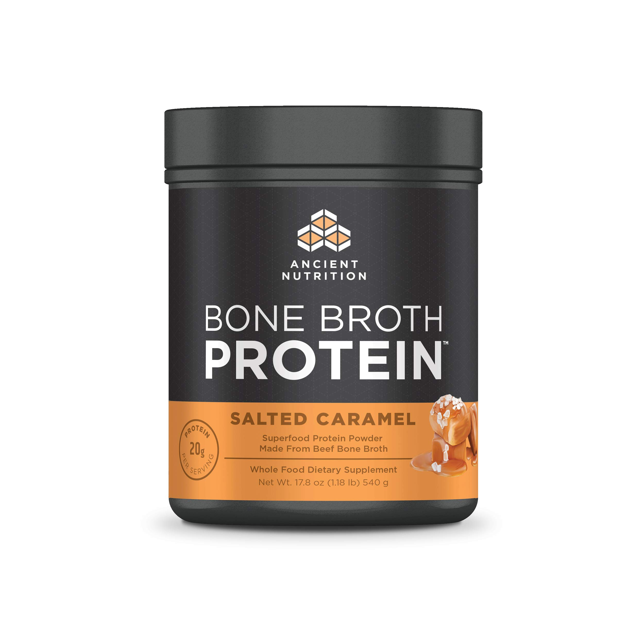 Ancient Nutrition Bone Broth Protein Powder, Salted Caramel Flavor, 17.8oz by Ancient Nutrition