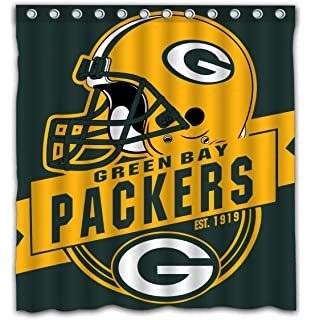 Felikey Custom Green Bay Packers Waterproof Shower Curtain Colorful Bathroom Decor Size 66x72 Inches