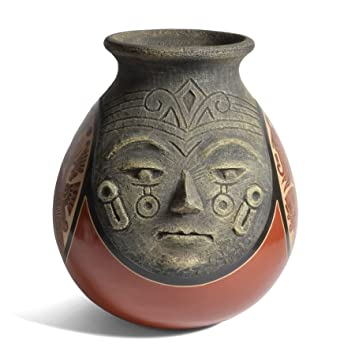 Amazon Nicaraguan Pottery 9 Inch Carved Mayan Faces Vase Home