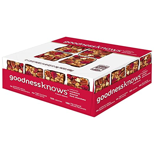 goodnessknows Cranberry, Almond and Dark Chocolate Snack Squares 12-Count Box