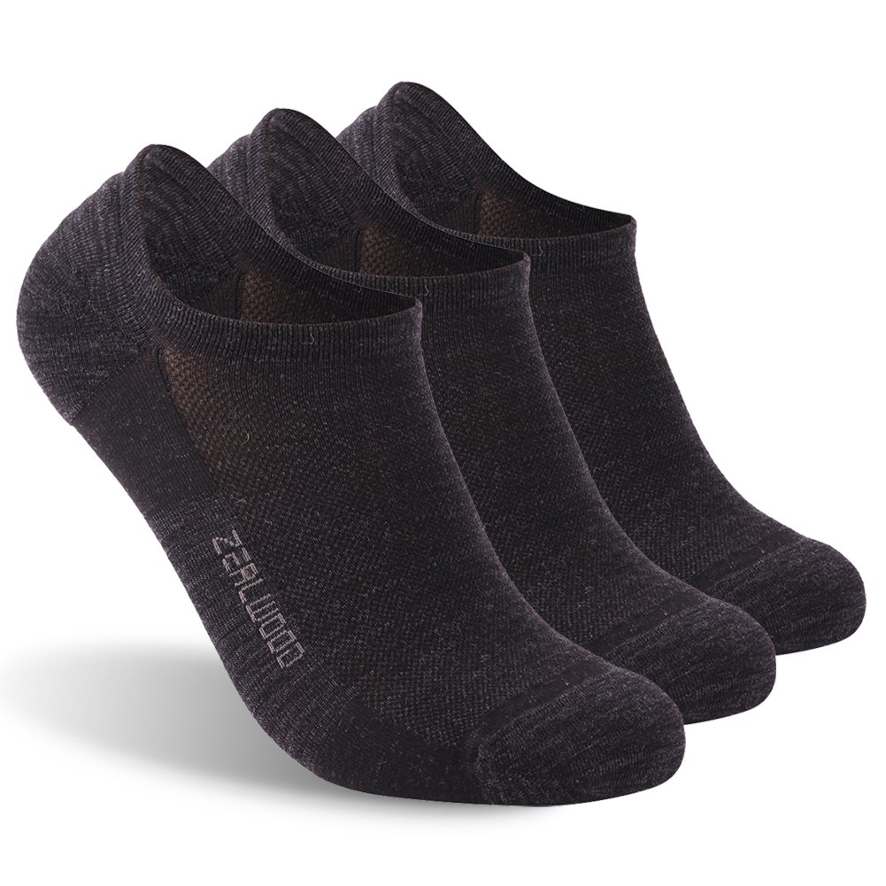 No Show Socks, ZEALWOOD Merino Wool Anti Blister No Show Running Socks Women and Men Cycling Athletic Golf