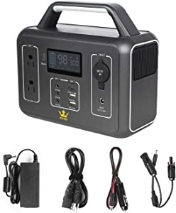 KYNG Portable Power Station Solar Generator Portable Generator 300W / 600w Peak CPAP Emergency Back Up Lithium Battery, 110V AC, Pure Sine Wave, Camping, Fishing, Travel, 280Wh/78000mAh