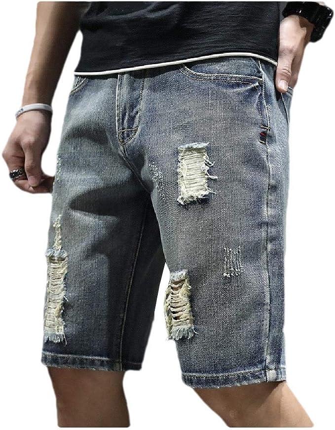 AngelSpace ポケットを持つメンズは薄い通気性ミッドライズピュアカラーデニムショートパンツを破壊しました