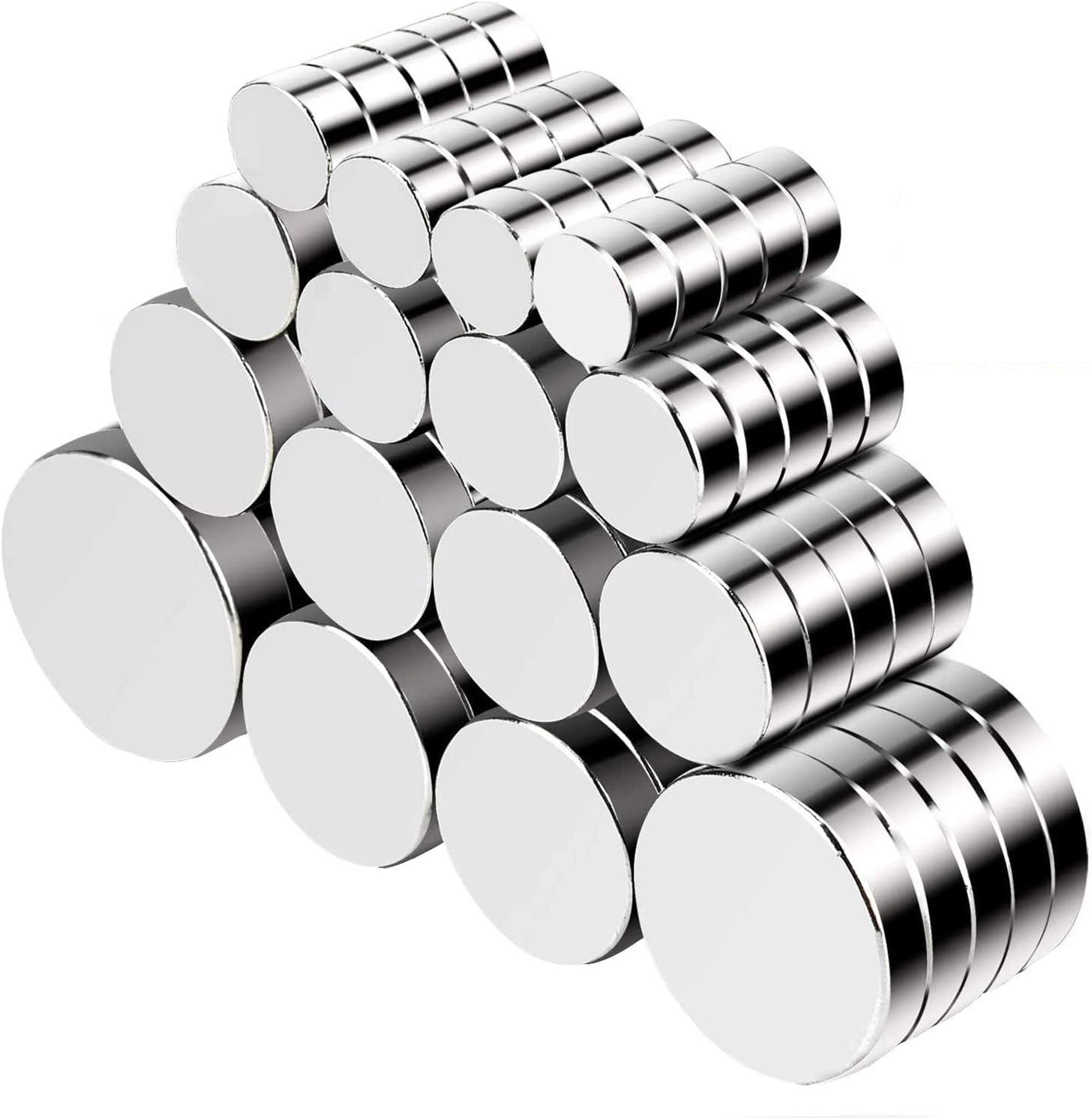 Jewan - 80 imanes de neodimio potentes, para frigorífico Redondo, imán de frigorífico (Varios tamaños), imán para Nevera con Superficies magnéticas, Pizarra Blanca interactiva, imágenes, Bricolaje