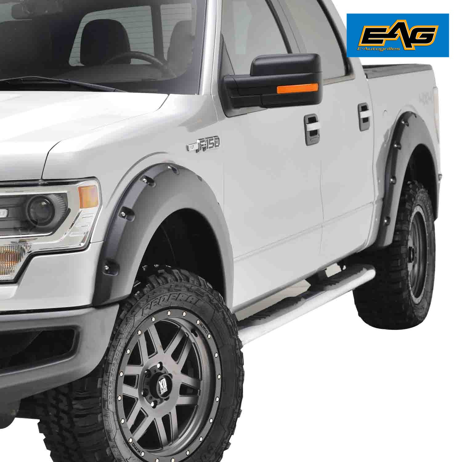 Eag 09 14 ford f150 styleside bed fender flares 4pcs black textured pocket riveted bolt