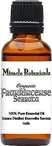 Miracle Botanicals Organic Frankincense Essential Oil - 100% Pure Boswellia Serrata - Therapeutic Grade - India - 30ml