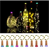 Molcoeur Wine Bottle Lights with Cork 10 Pack Fairy Battery Operated Mini Lights Diamond Shaped LED Cork Lights for Wine Bottles DIY Party Decor Halloween Wedding Festival