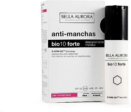 Bella Aurora Bio 10 Forte Crema Anti-Manchas Facial Piel Normal-Seca SPF 20, Anti-edad, Despigmentante Cara, 30 ml