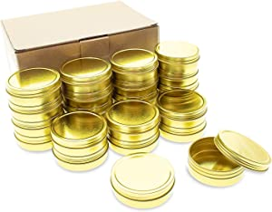 Mimi Pack 24 Pack Tins 4 oz Shallow Round Tins with Solid Screw Lids Empty Tin Containers Cosmetics Tins Party Favors Tins and Food Storage Containers (Gold)
