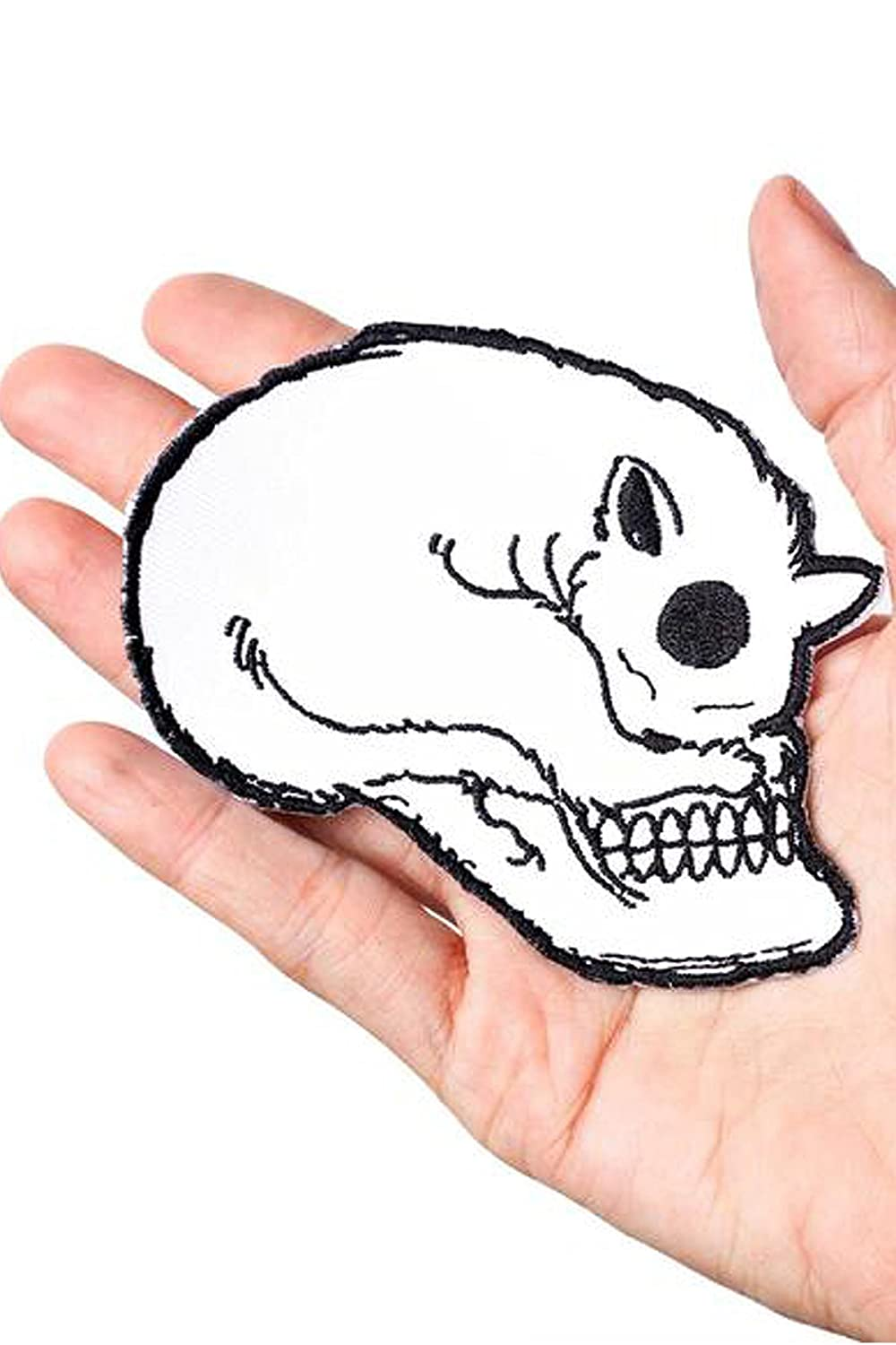 Cat Skull Embroidered Iron On Patch JLCS18